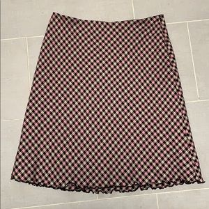 Briggs NY Pink and Brown Midi Lined Skirt T